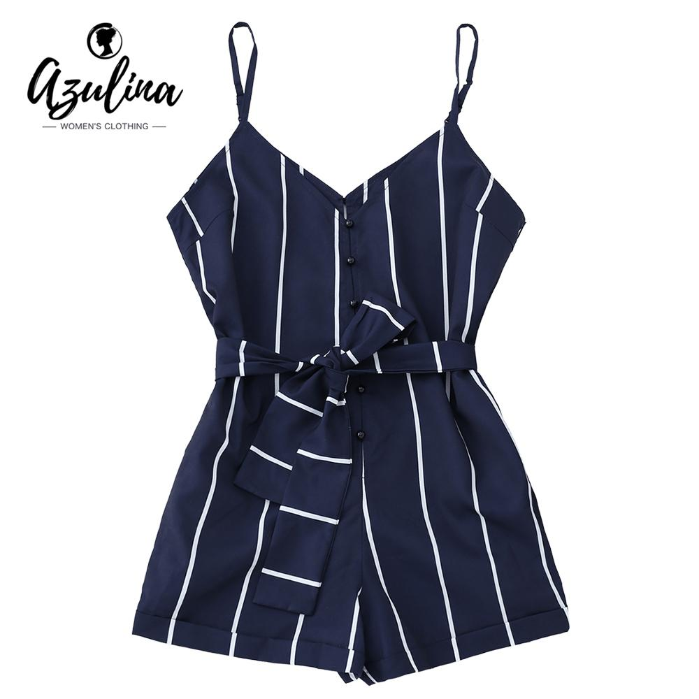 e54724fc646 2019 AZULINA Women Playsuits Striped Belted Spaghetti Strap Romper Casual  Beach Girls Clothes Short Jumpsuits Women S Clothing S XLY1882201 From  Zhengrui05