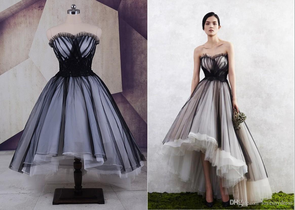 Discount Black And White High Low Cheap Wedding Dresses Plus Size Real Photo Tulle Ruched Applique Colorful Designer Short Front Long Back Gowns: White High Low Wedding Dress At Reisefeber.org