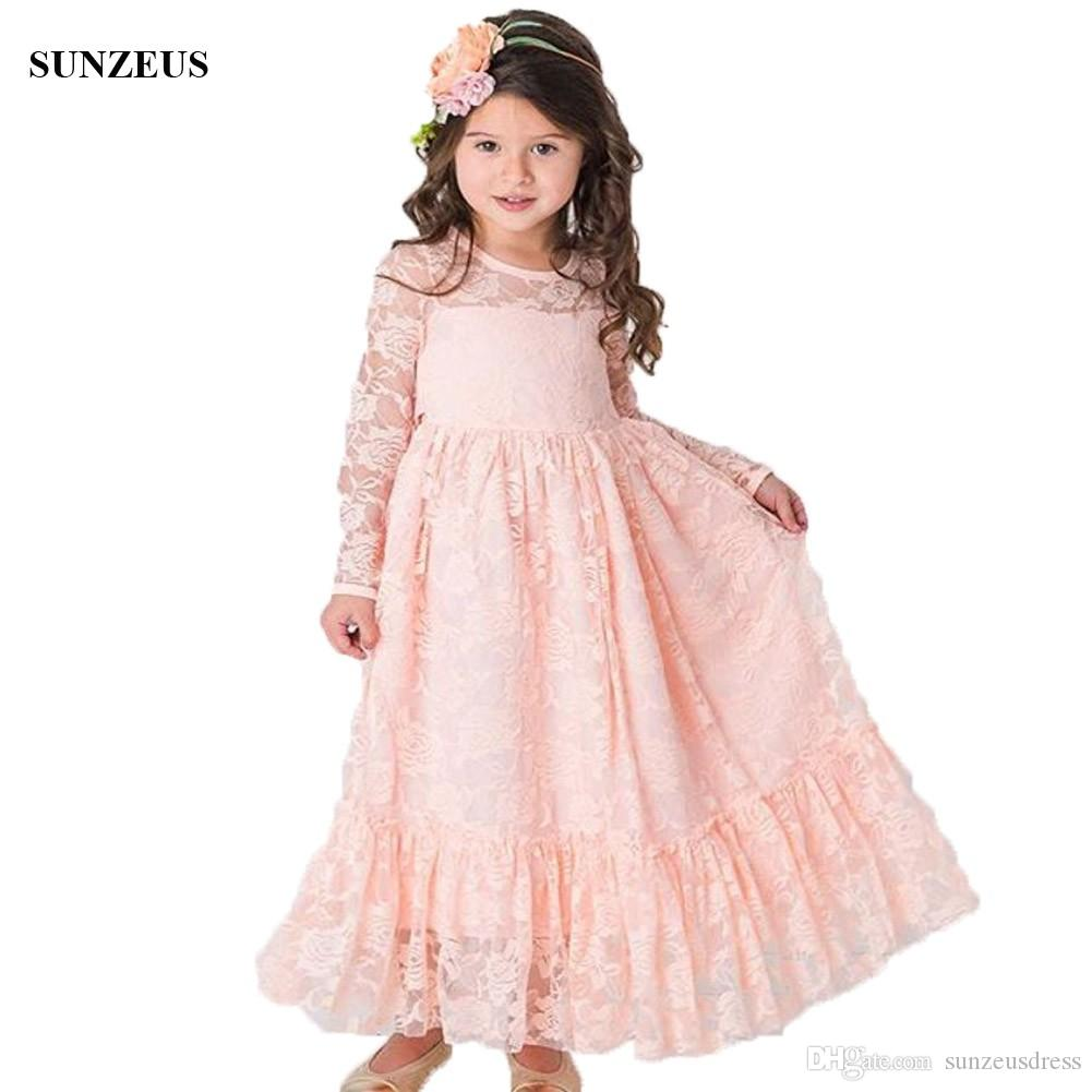 4acd46778 A Line Pink Lace Flower Girl Dress With Long Sleeves Ankle Length ...