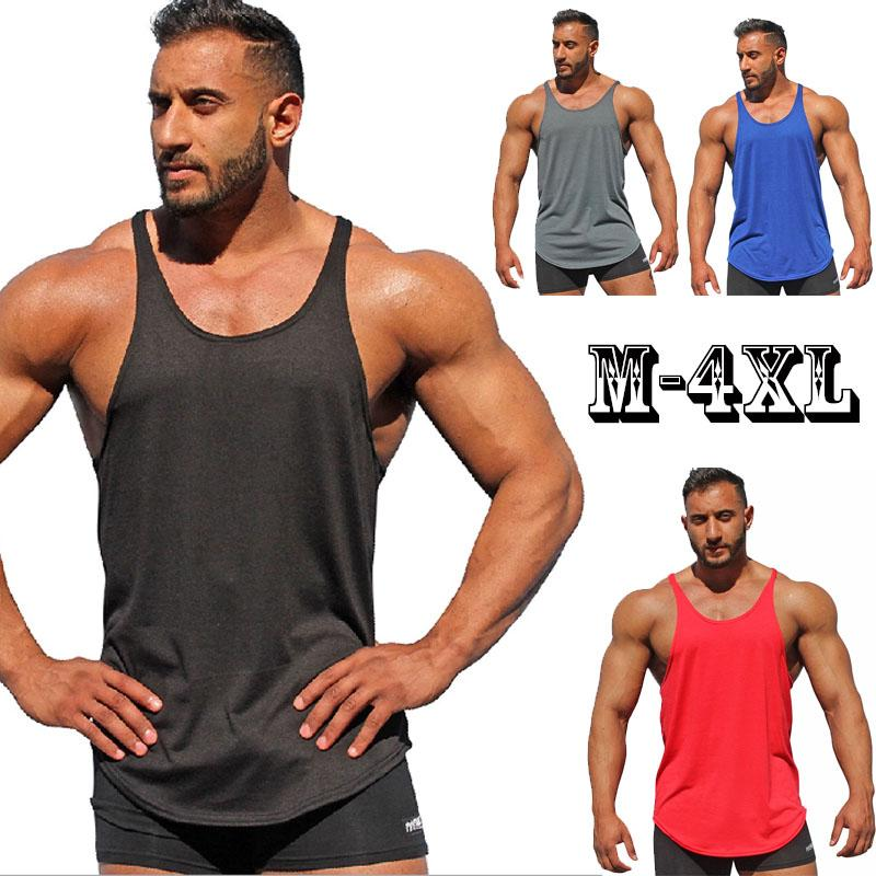 f0ec5968ce19c1 Summer New Tank Top Men 2018 Brand Male Solid Color Sleeveless Vest Clothing  Bodybuilding Top Tank Mens Jersey Plus Size M 4XL UK 2019 From Hongzhang