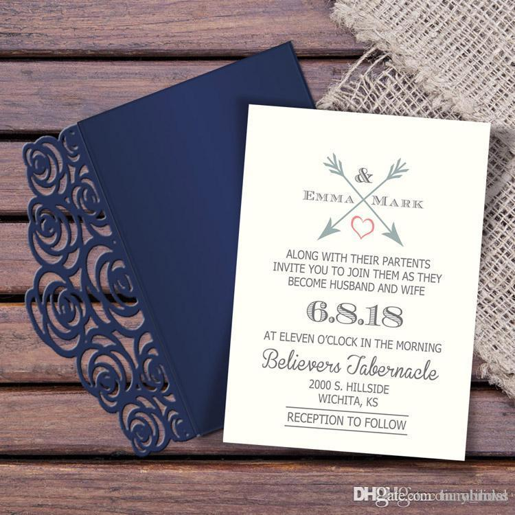 Free Shipping New Folder Laser Cut 2018 Wedding Invitation Suites Custom Inner Sheet With Envelope Wedding Blank Inner Invitations Available
