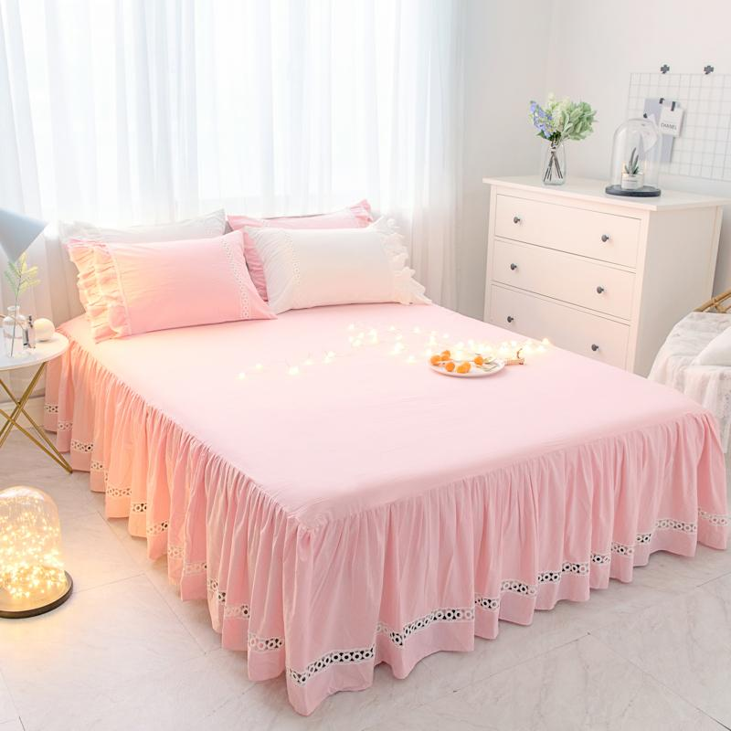 1 Solid Color Lace Bed Skirt Pillow Cases Pink Princess Bedding Bed ... dff13b2fda