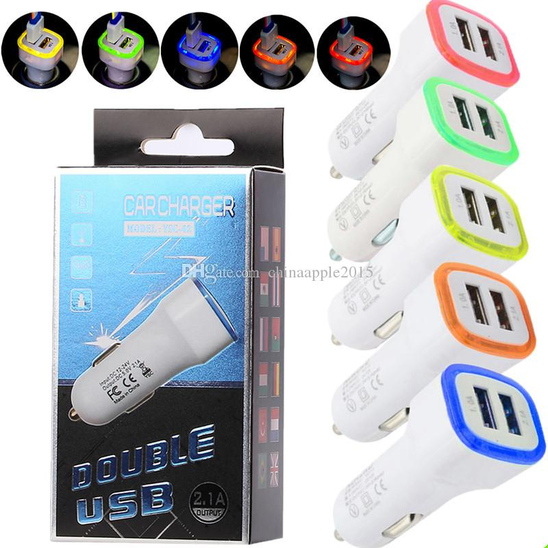Mobile Phone Accessories Universal Led Light Double 2 Port 2.1a+1a Usb Car Charger For Samsung Apple Cell Phone