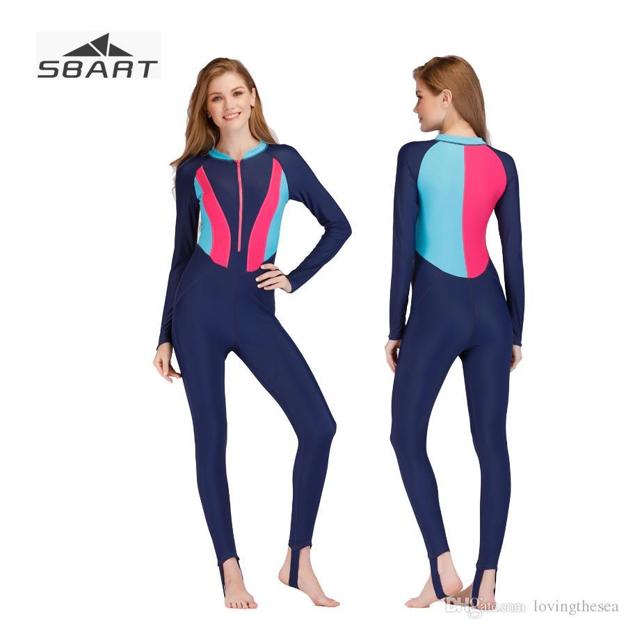 62859052b8a Sbart Swimwear Women Long Sleeve Swimsuit Rashguard Lycra Sunscreen ...