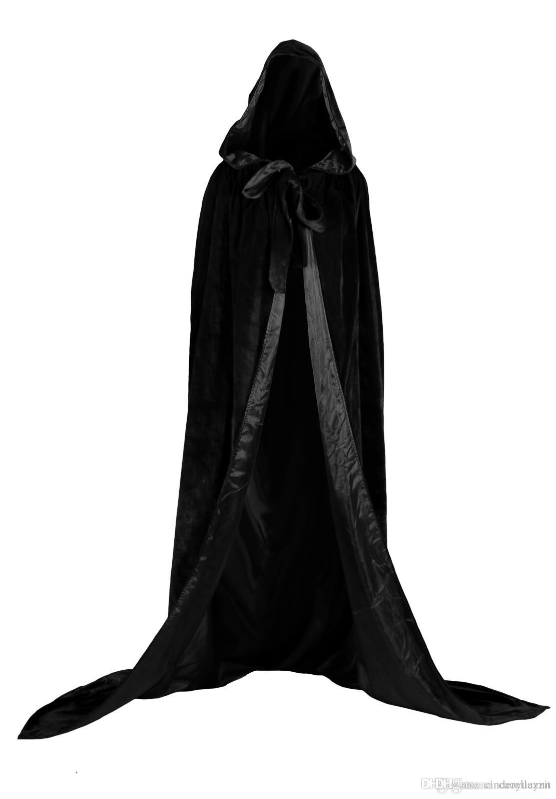 78d53e3f5a 2019 New Black And 10 Colour Lining Hooded Velvet Cloak Gothic Wicca Robe  Medieval Witchcraft Larp Cape Hooded Vampire Cape Halloween Party Cloak  From ...