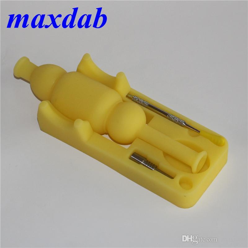 Glow in the Dark Narghilè Kit da collezione del NECTAR in silicone con 10mm Joint TI Nail Netor Collectors Oil Rigs Micro NC Tubi d'acqua in vetro
