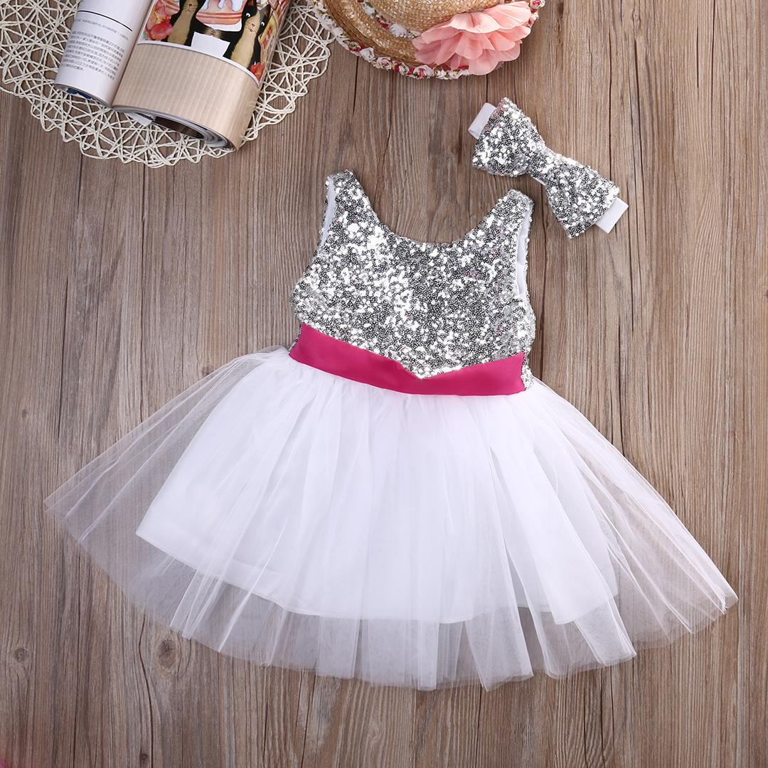 Summer Kids Girls Dress Sequins Ball Gown Headband Tulle Bridesmaid Wedding Birthday Party Pageant Girl Clothes Dresses