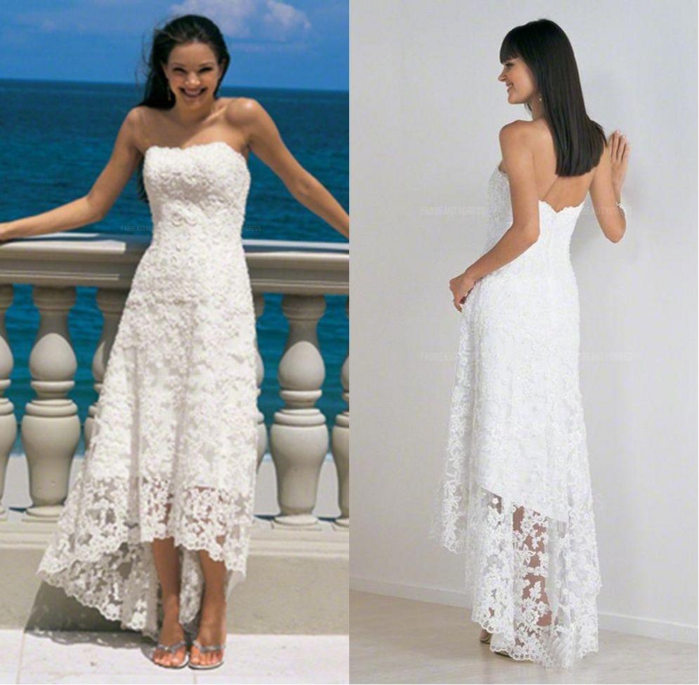 0892a3c8b38 Discount 2018 Lace Beach Wedding Dress A Line Strapless High Low  Asymmetrical Wedding Dress Backless Zipper Back Vintage Bridal Gowns Cheap Wedding  Dresses ...