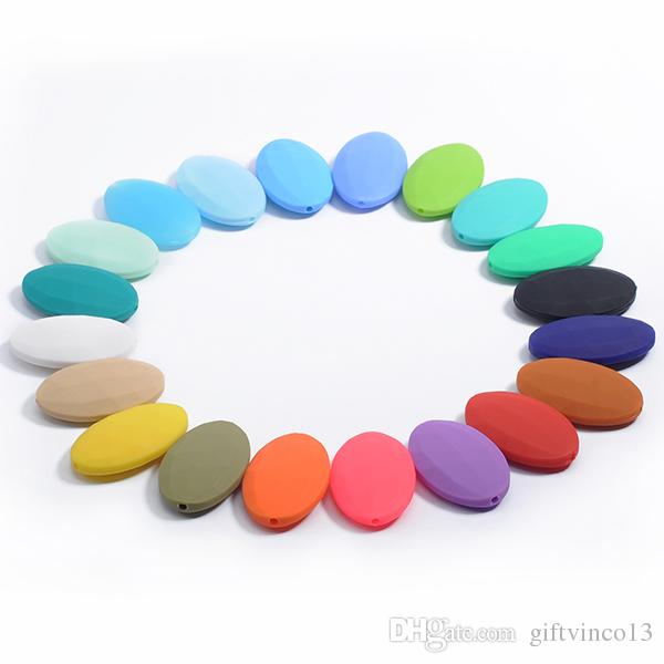 Fashion Silicone Chew Necklace Teether with Large Flat Oval Beads Food Grade Teething Necklace for Mum Baby Chewelry Nursing Jewelry