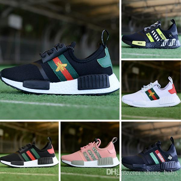 e171455c9 With Box Kids Shoes 2018 NMD Runner R1 Primeknit White Black Nice Kicks  Running Shoes Sneakers Originals Classic Casual Shoes Toddler Runners Cheap  Boys ...