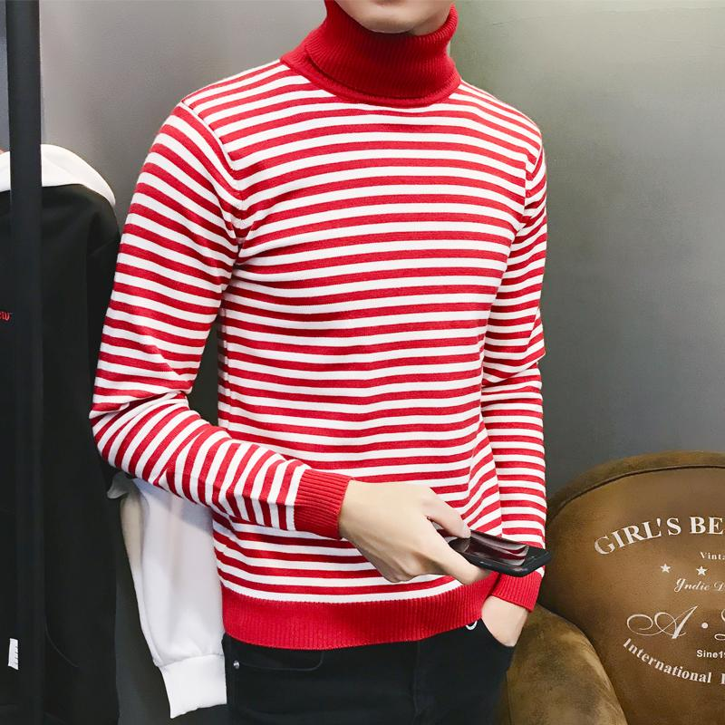 Loldeal Knitting Cashmere Christmas Sweater Men's Pullover Long Sleeve Round Neck Striped Warm Solid High Lapel Hedging