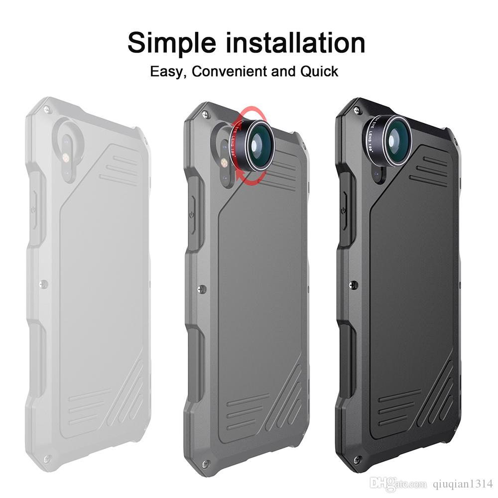 Phone Case Lens for iPhone X High Impact Protective Back Shell with 3 Separate External Camera Lens Wide-angle Fisheye Macro Cell Phone Lens