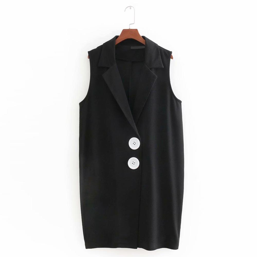 FIRSTTO Vintage Black Vest Turn-down Collar Big Two Button Single-breasted Sleeveless Straight Coats Sexy Women Outerwear Tops