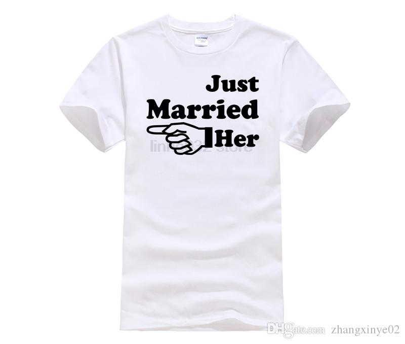 ab8fe0f44f Just Married Him Her Arrow T Shirt Set Funny Designer Mens Womens Wedding  Tshirt Matching Couples S Shirts XS 3XL T Shirt T Tee Shirts Online  Shopping From ...