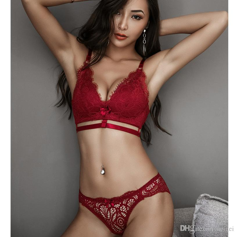 990eddb0916da 2019 Hollow Sexy Lace Seamless Bra Set Gather Lingerie Push Up Bras Cotton  Panties Women Lingerie Push Up Underwear Sets Intimates From Neinei