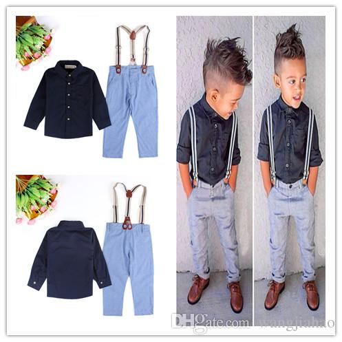 Cheap Boys Kids Two Piece Suit Baby Boys Kids Clothes 2018 Europe And the  United States Summer Handsome Boy Gentleman Shirt Strap 2 Suit 13f5a17ae2