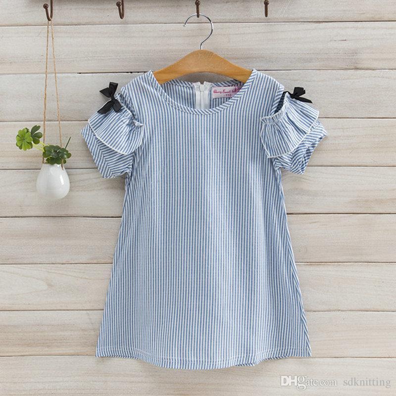 Kore stilleri bebek kız Çıplak omuz elbise bebek kız Pamuk şerit kolsuz elbise bebek giyim Ücretsiz Kargo
