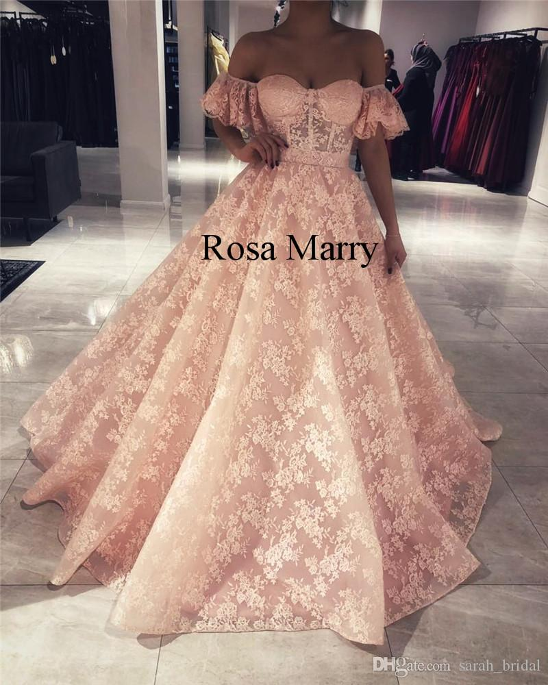 885f910617 Blush Pink Vintage Lace Arabic Prom Dresses 2018 Off Shoulder Short Sleeves  Plus Size African Dubai Girls Pageant Formal Evening Party Gowns Vintage  Lace ...