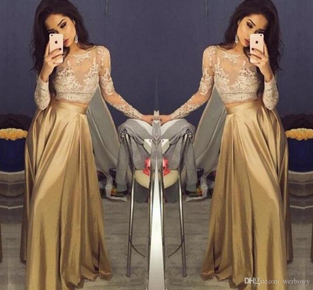 Beautiful Lace Long Sleeve Gold Two Piece Evening Dresses 2018 Satin Cheap Prom Gowns Sheer Golden Mother Of The Bride Party Dresses HY213