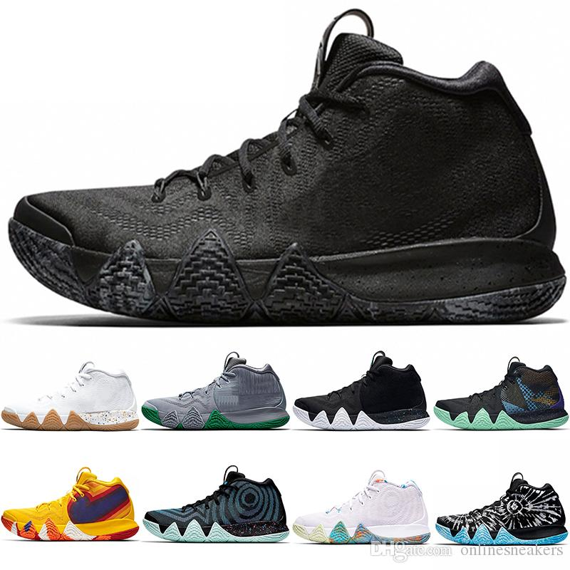 cheaper c9d45 b959f Kyrie Irving 4 4s Men Basketball Shoes Uncle Drew Triple Black Oreo 70s 80s  90s Mamba Mentality Red Carpet Sport Sneaker Size 40-46