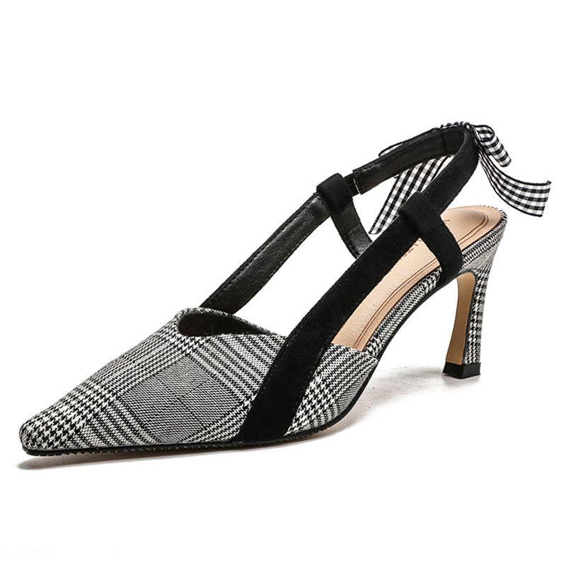 6644e78ef High Heels Sandals Women 2019 Summer Women S Shoes Empty Baotou Fashion Women S  Pointed Cats Casual Bowtie Women S High Heel Sandals Pumps Shoes Shoe Sale  ...