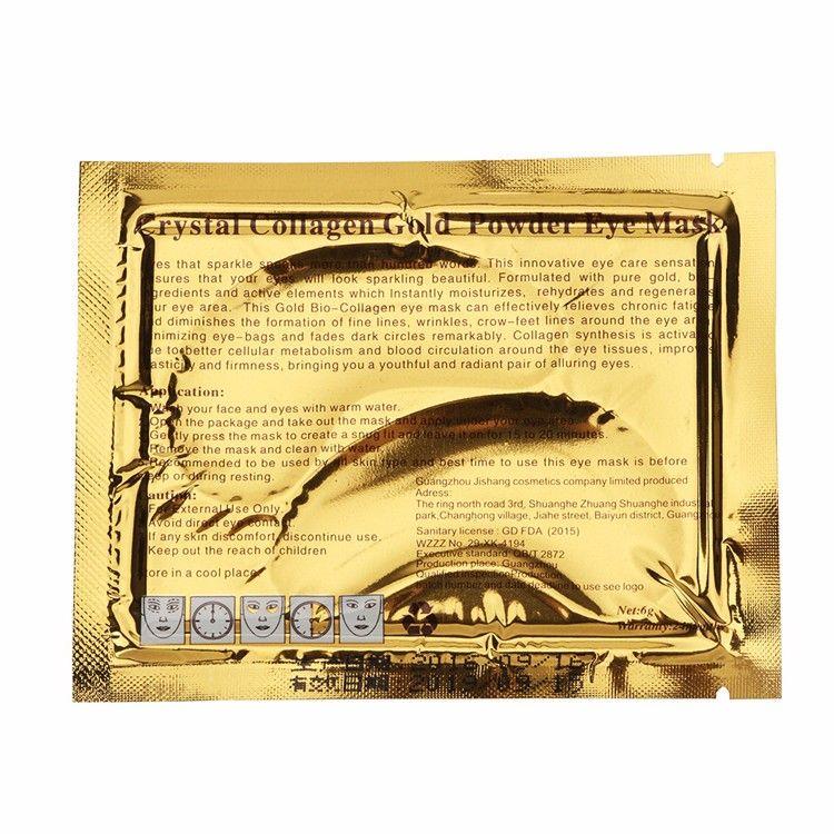 الجملة-الذهب كريستال الكولاجين النوم قناع العين hotsale بقع العين ماسكارا 100 قطع = 50 حزمة الخطوط الدقيقة العناية بالوجه العناية بالبشرة