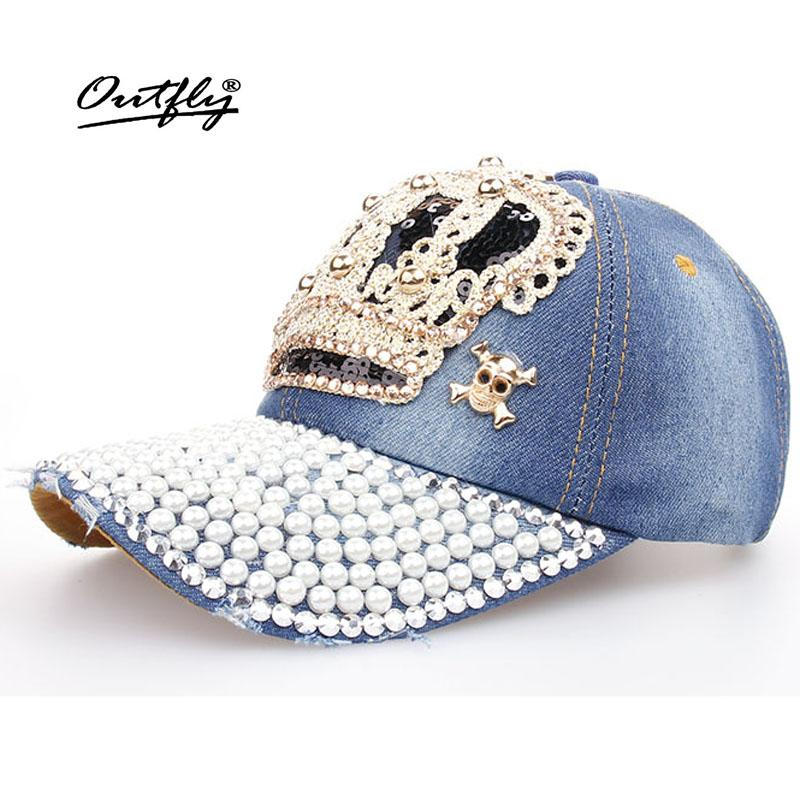 Crown Point Drill Pearl Cowboy Hat Women Denim Baseball Cap Snapback Hat  Outdoor Sport Rhinestone Sun Jean Casquette B110 Lids Cap From Nectarine99 013acb55b8ab