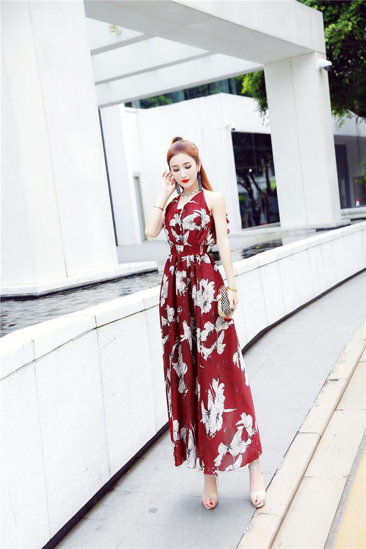 6092254e622 2018 Hot New Korean Floral Chiffon Dress Halter Backless Dress Bohemian  Summer Casual Maxi Beach Dress For Vacation A0007 Cute White Dresses For  Summer Lace ...