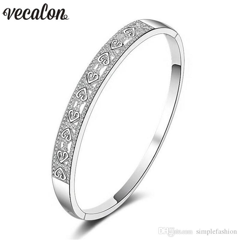 Vecalon Heart to Heart 5A cubic zirconia Engagement bracelet White Gold Filled cuff bangle womens Wedding accessaries Jewelry