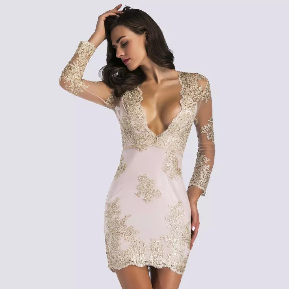 7277833518 Hot Sale Summer Lace Backless Sexy Bodycon Dresses V-Neck Sheath ...