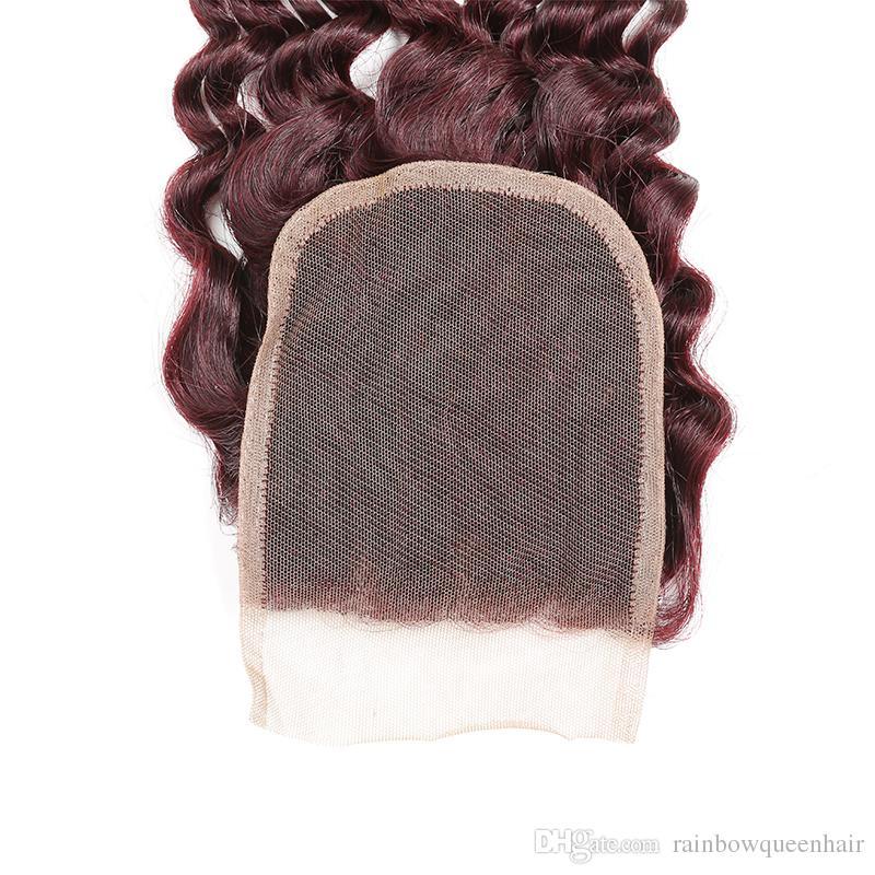 Borgoña enrollamiento profundo 3 paquetes con cierre barato visón de pelo virgen sin procesar brasileña onda rizada profunda 99j pelo humano tejido de cierre rojo vino