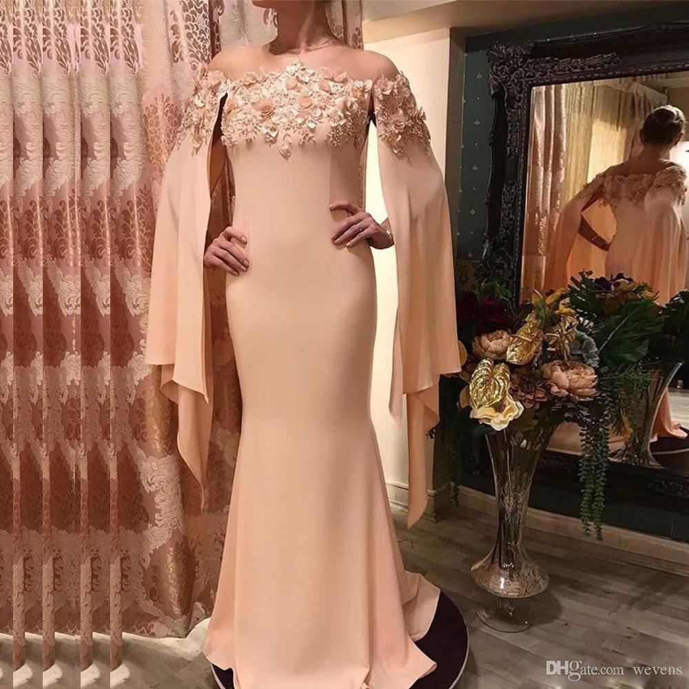 3a412ed723fb Acquista Gioiello Rosa Pesca Collo Con Abito Da Sera Sirena Di Cape 3D  Perline Fiore Dubai Abito Da Ballo Formale Vestidos De Fiesta Abito Da Sera  Lungo ...