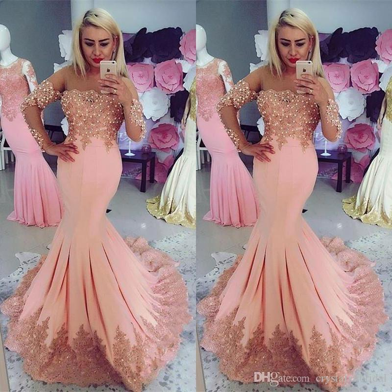 2018 Sexy Arabic Middle East Evening Dresses Illusion Long Sleeves Pink Lace Appliques Pearls Mermaid Plus Size Prom Party Gowns Vestidos