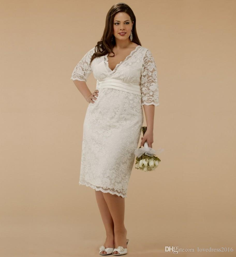 2018 Plus Size Wedding dresses V Neck Half Sleeves Bridesmaid Dresses Knee  Length Lace Bridal Gowns