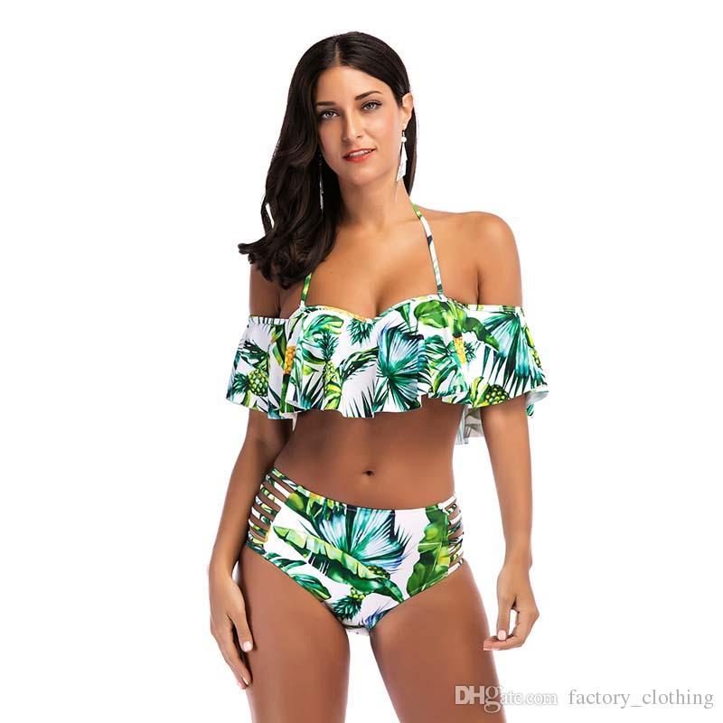 565f9d9b1a3 Winter Summer Beach Bathing Suits Sexy Lotus Leaf Swimsuit Hanging Neck  Print Bikini Two-Piece Bikini Wading Movement