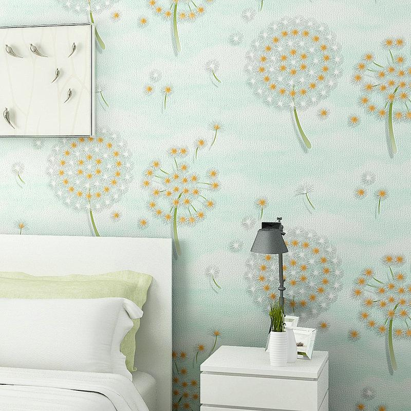 Modern Warm Floral Wallpapers Dandelion Wallpaper For Walls Non Woven Green Wall Paper Bedroom Girls Room Pink