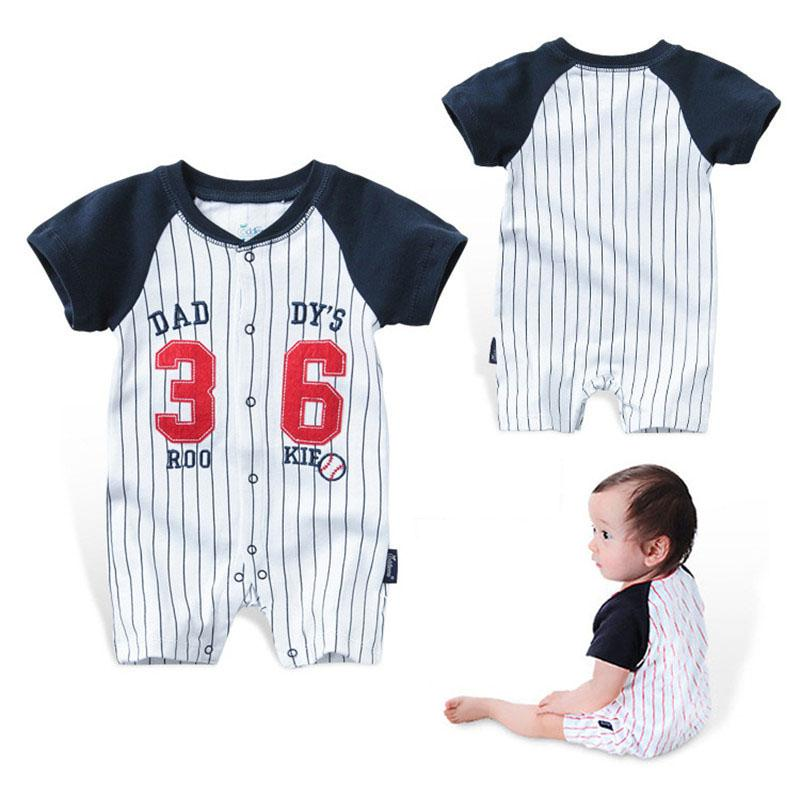 20e06434a05 Baby Rompers Summer Boys Girls Clothes Striped Newborn Baby Jumpsuit ...