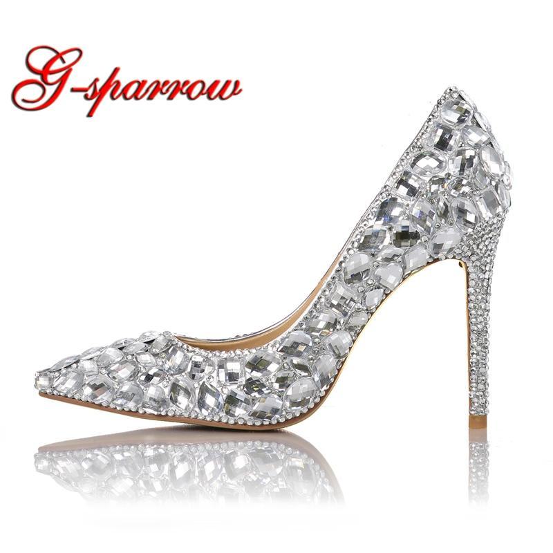 2018 Pointed Toe Shinning Crystal Wedding Shoes T-stage Performance ... 9ec4b1a32fe9
