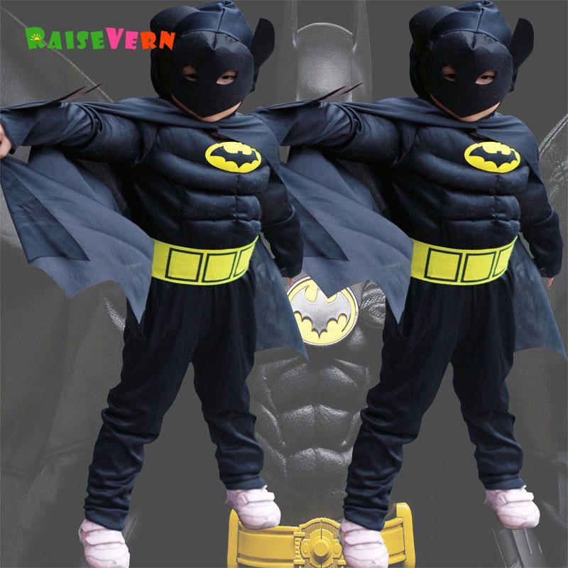 de6f2a3b0db Купить Оптом Хэллоуин Супергерой Человек Паук Дети Супермен Мальчик Аниме  Производительность Одежда Костюм Дети Партия Карнавал Косплей Бэтмен Костюм  ...