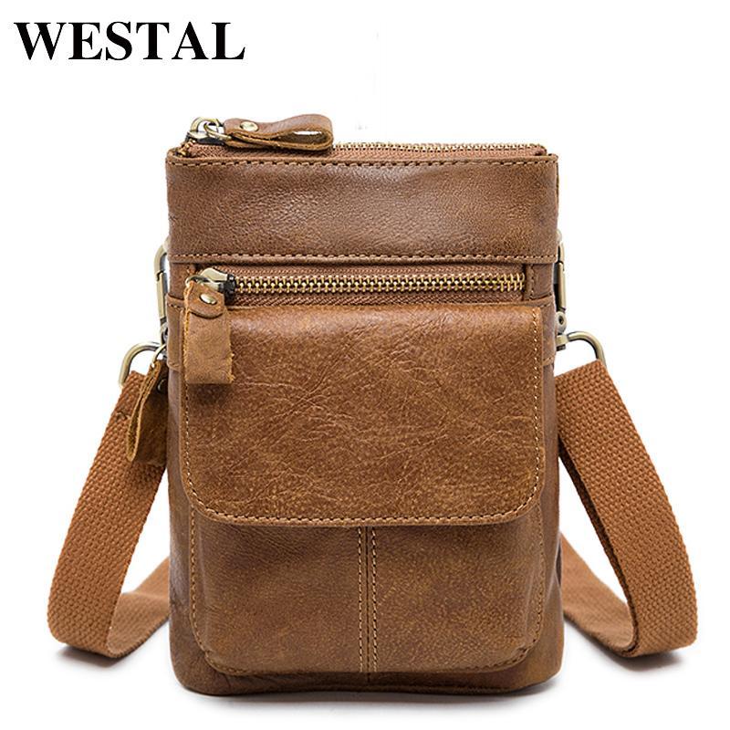 WESTAL Genuine Leather Bag Men Bags Leather Belt Waist Pack Men Messenger Bags Male Phone Small Flap Male Shoulder Crossbody Bag