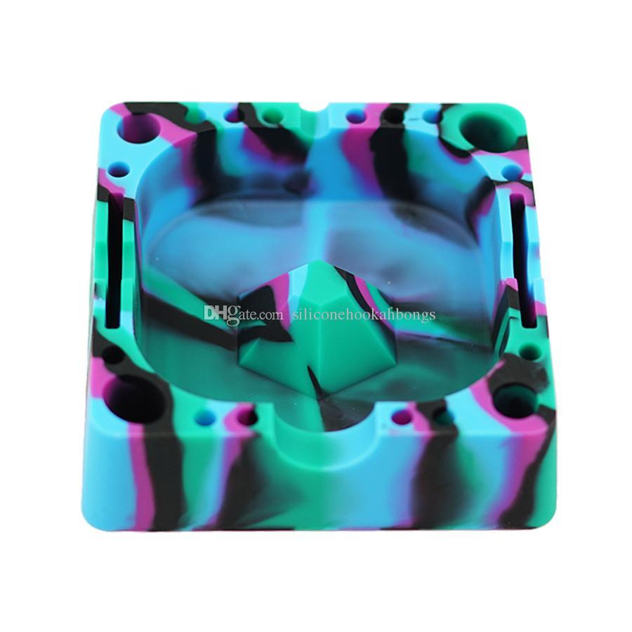 einzigartiger farbiger quadratischer silikonaschenbecher hitzebeständige aschenbecher umweltfreundliches leuchten im dunklen silikonaschenbecher für eine einfache reinigung der aschenbecher