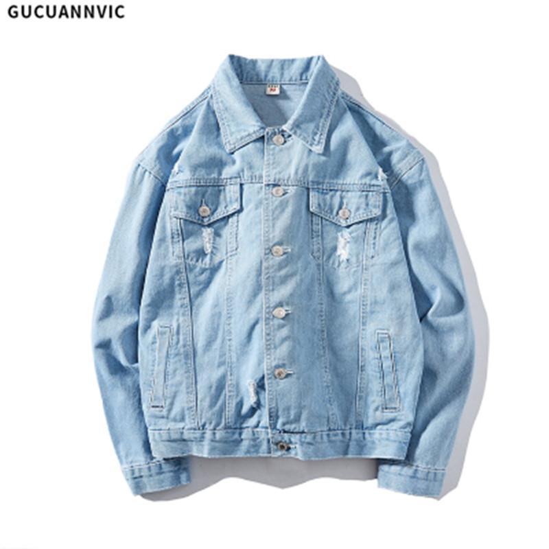 64c163ba1b074 Satın Al 2018 Kış Moda Erkek Jean Ceket Dış Giyim Erkek Kovboy Yırtık  Rüzgarlık Ceketler Coat 100% Pamuk Gevşek Rahat Kalça Pop Denim, $37.94 |  DHgate.