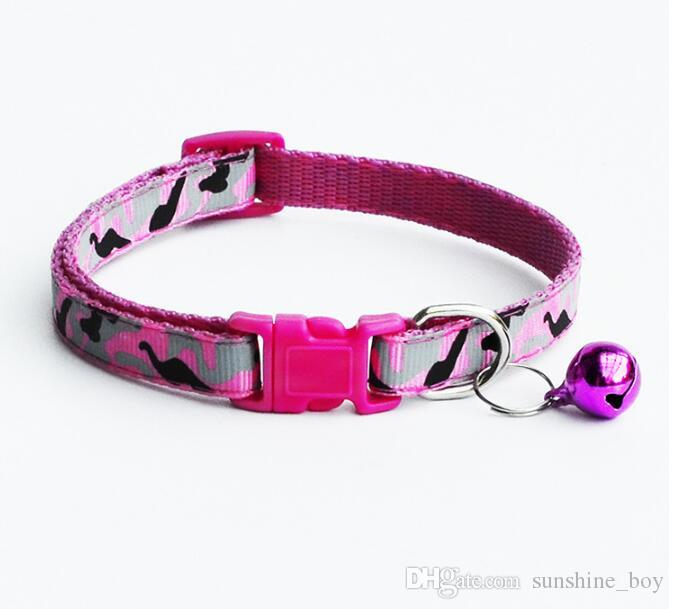 2018 High Quality Safety Nylon Dog Puppy Cat Collar Breakaway Adjustable Cats Collars with charm Bell and camouflage width 1.0cm