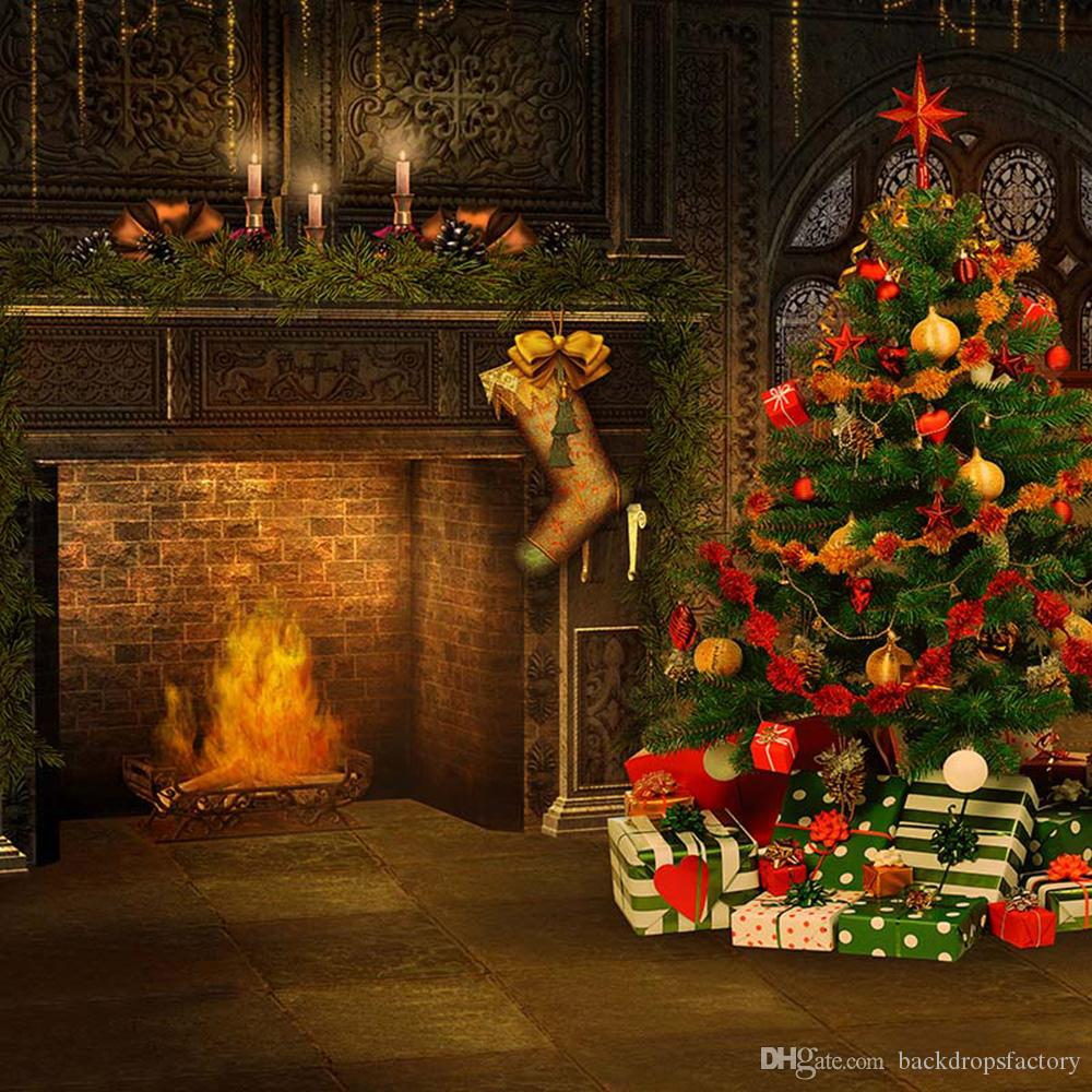 2020 Indoor Christmas Fireplace Backdrop Printed Sock Presents Balls Decorated Xmas Tree Kids ...