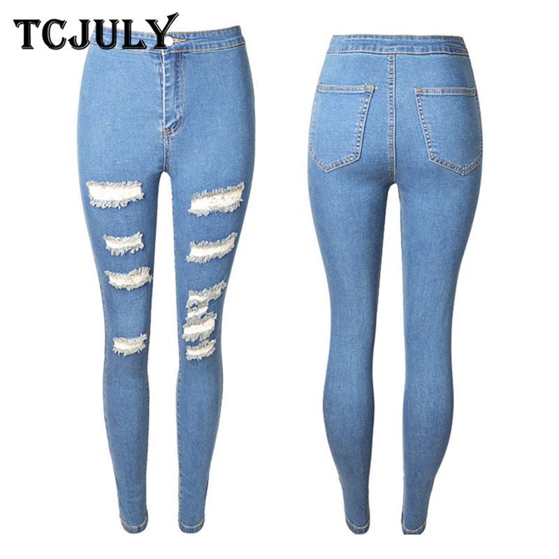 14f7039dbbf5 Acquista TCJULY 2018 Nuovo Design Jeans Aderenti Donna Alla Moda Push Up  Slim Jeans Strappati Pantaloni Matita Streetwear Casual Blu Jeans Donna A   45.53 ...