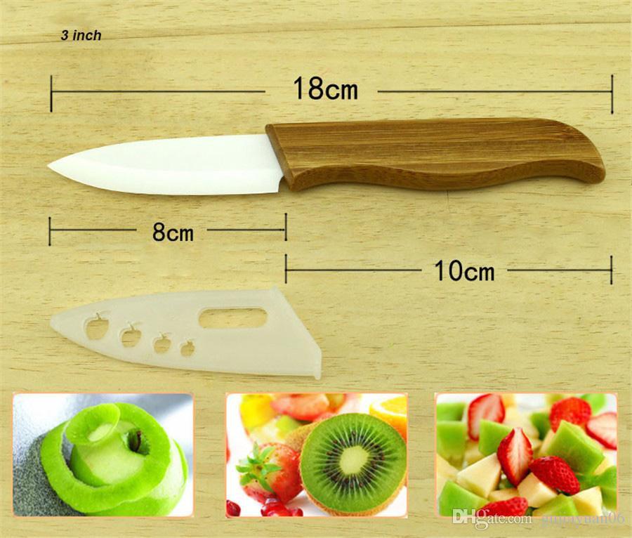 Marke oben Bambusgriff mit weißem Blatt-keramisches Messer Küchenhelfer 3