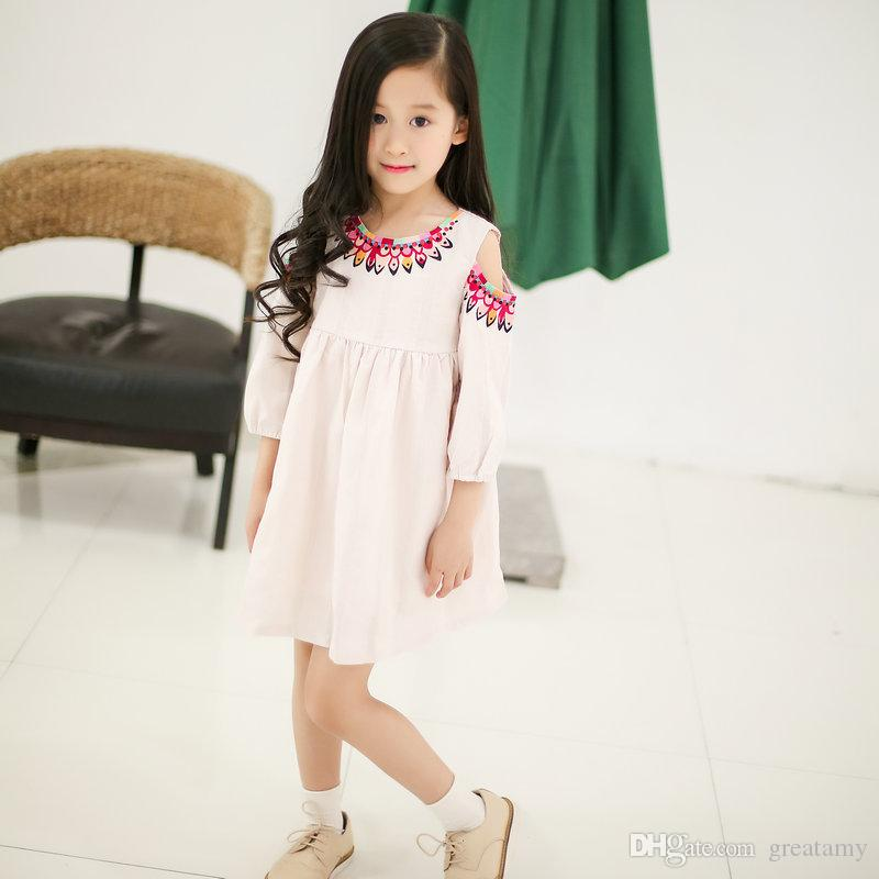 Yeni bebek kız halk-özel Çiçek elbise yaz pamuk Çocuk baskı Straplez elbiseler Çocuk Giyim en kaliteli