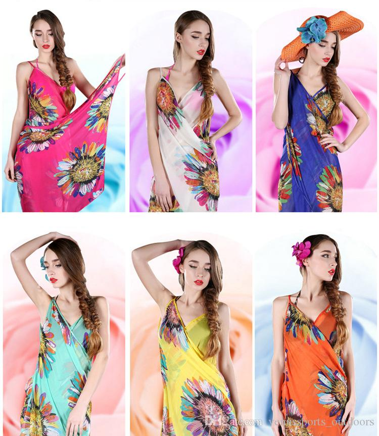 0cc792cbcbfd8 2019 Women Floral Bikini Cover Ups Print Sexy Pareo Beach Dress Bohemian Sarong  Chiffon Beach Bikini Wrap Swimwear Scarf Shawl Brace From ...