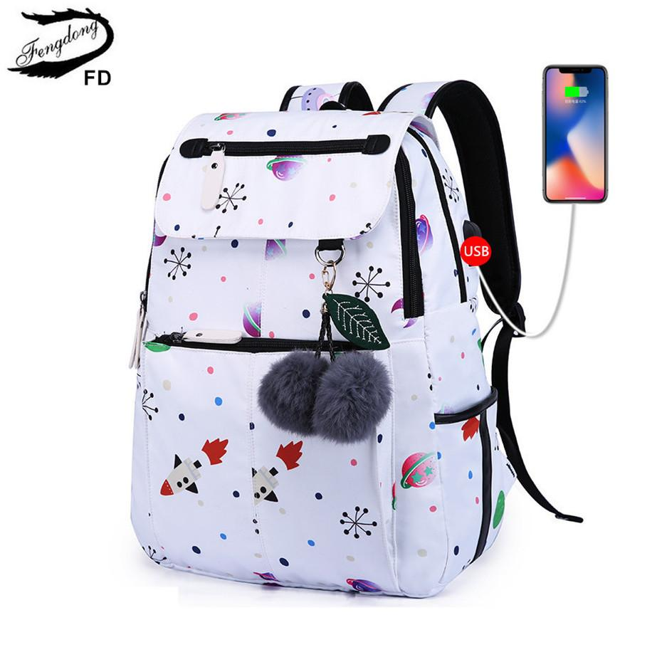 FengDong Fashion School Backpack For Girls School Bags New Arrival 2018  Children Backpackids Cute USB Bag Schoolbag Bookbag Childrens Suitcases  Messenger ... 3d3ab9774629d