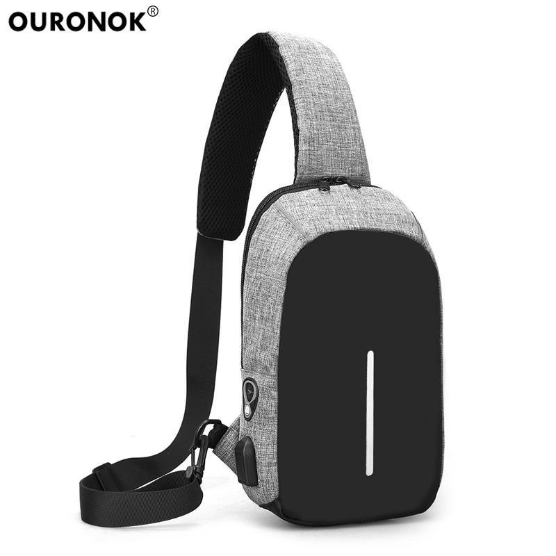 e9974a7c68 OURONOK Men Single Shoulder Strap Cross Body Bags Casual Anti Theft ...